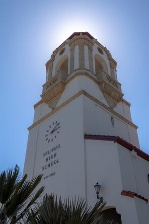 The Salinas High School clock tower is photographed on Tuesday, April 28, 2020.
