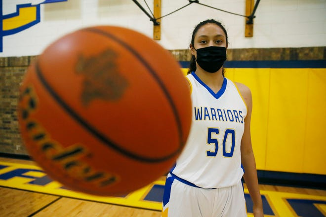 Immanuel Christian basketball athlete Hannah Ayala Thursday, Jan. 7, at the school in El Paso.