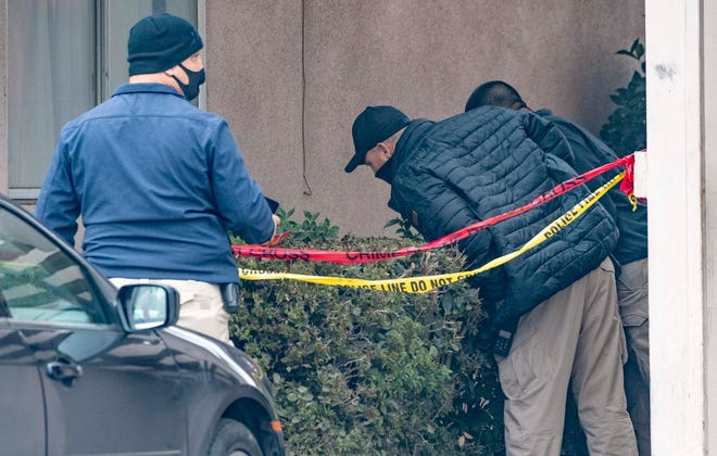Visalia Police investigate a homicide at the Majestic Inn after gunfire early Friday morning Friday, January 8, 2021.