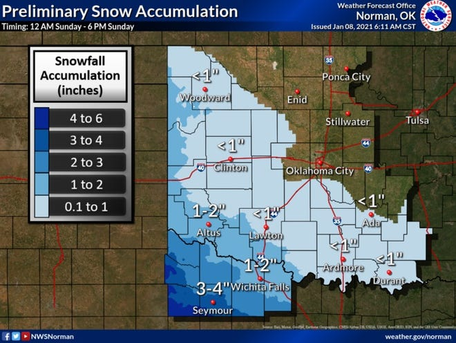 Significant snow accumulation is possible for parts of north Texas beginning early Sunday morning.