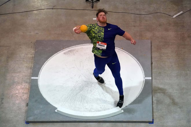 Ryan Crouser, seen here in previous action, added to his accolades by breaking the world indoor shot put record at an American Track League meet in Fayetteville, Ark., on Sunday.