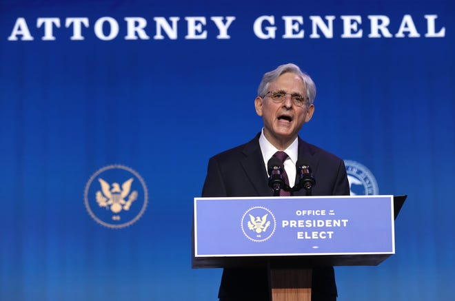 Merrick Garland, President-elect Joe Biden's choice for attorney general, in Wilmington, Delaware, on Jan. 7, 2021.