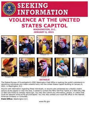 """Affiche à distribuer du bureau extérieur du Federal Bureau of InvestigationÕs (FBI) à Washington """"sollicitant l'aide du public pour identifier les personnes qui ont fait une entrée illégale dans le Capitole des États-Unis le 6 janvier 2021 à Washington, DC"""""""
