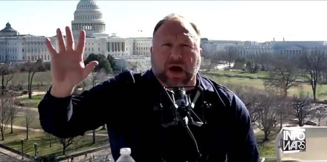 Alex Jones, an Austin-based conspiracy theorist, said in a Thursday episode of his talk show that he was asked by the White House to lead the march that preceded the deadly riot at the U.S. Capitol on Wednesday.
