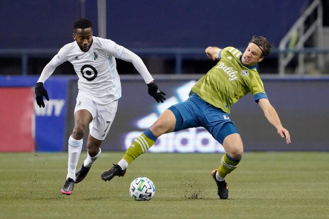 Newly acquired Crew winger Kevin Molino, left, led all Major League Soccer wingers with 13 goals and four assists last season.