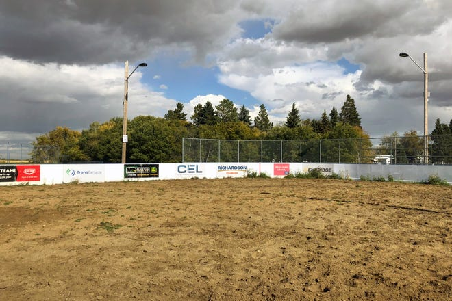 """The """"Rink of Dreams"""" gives the 90 local residents the chance to skate outside in Kingman, Alberta, and is typically filled with ice from December through March and used for horse riding events at other times of the year. These days it doesn't seem to freeze as long as it used to."""