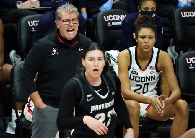 Connecticut coach Geno Auriemma shouts from the sideline during Saturday's game against Providence.