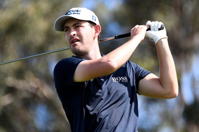 Patrick Cantlay hits from the first tee during the second round of the Tournament of Champions on Friday in Kapalua, Hawaii.