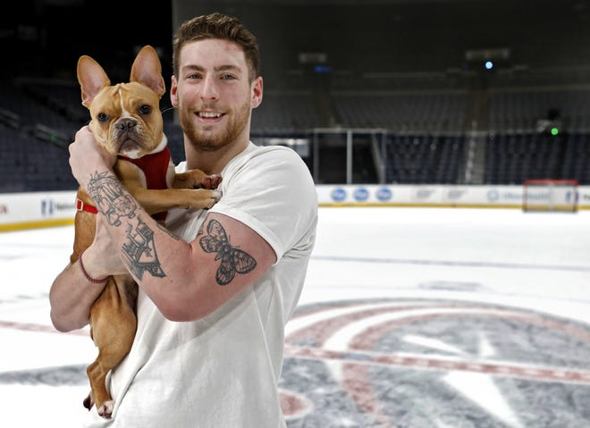 """Readers' message to Pierre-Luc Dubois: """"And your little dog Toto, too!"""" (Actual dog name: Philly)"""