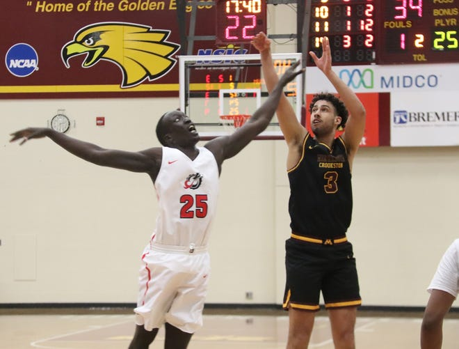 Leonard Dixon in a game against Minnesota State Moorhead on Jan. 9. Dixon scored 19 points in Minnesota Crookston's 95-77 loss to Bemidji State Friday.