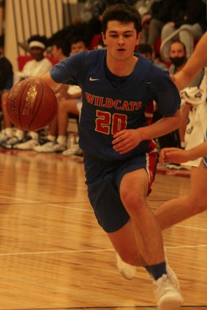Benson County senior Blayne Anderson dribbles the ball up the court in a game against Four Winds on Jan. 9 at Minnewaukan Public School.