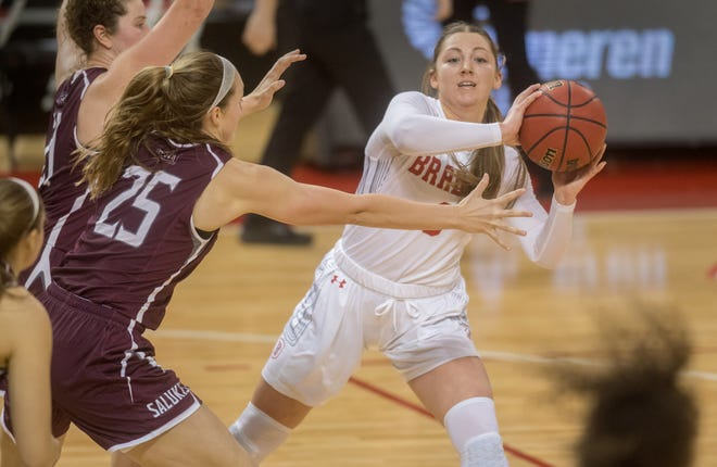 Bradley's Gabi Haack (3) looks to pass the ball under pressure from the SIU defense in the second half Friday, Jan. 8, 2021 at Renaissance Coliseum in Peoria.