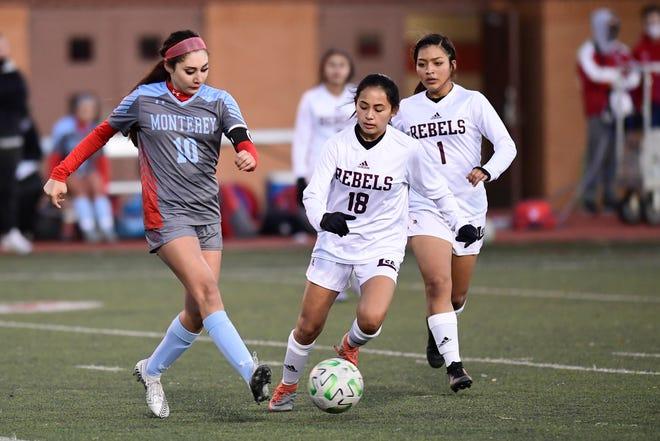 Monterey's Dani Peña (10) passes the ball against Midland Lee on Jan. 8, 2021 at Monterey High School.