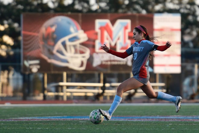 Monterey's Dani Pena attempts to kick the ball during a nondistrict soccer match Friday, Jan. 8, 2021 at Monterey High School.