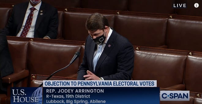 Congressman Jodey Arrington objects to the electoral college votes in the state of Pennsylvania at 12:30 a.m. Thursday  in the U.S. Capitol.