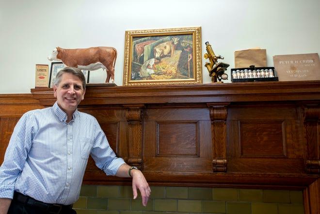 Dr. Alastair E. Cribb, dean of Cummings School of Veterinary Medicine at Tufts University,  Jan. 8 in his office in Grafton.