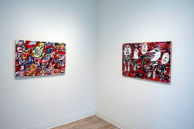 Jean DuBuffet's Site Aléatoire avec 3 Personnages, left, and Lieu Fréquenté are part of the Sotheby's show at the Royal Poinciana Plaza.