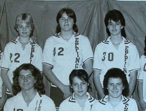 Epping's Kerry Bascom, center back, led the Blue Devils to the 1985 Class S girls basketball championship and scored 2,408 career points. She later played at the University of Connecticut, Geno Auriemma's first big recruit.