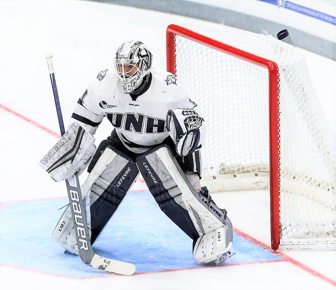 Senior goalie Mike Robinson has a 2.10 GAA in seven starts this season for the University of New Hampshire men's hockey team. Robinson had 35 saves in Friday's 4-3 overtime win over second-ranked Boston College.