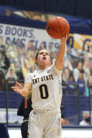 Kent State freshman point guard Casey Santoro floats up a shot during Saturday's contest against Ball State at the M.A.C. Center.