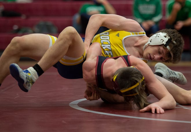 Portage County  Tournament, Wrestling held at Waterloo High and Middle School. 120 Morgan Harris, Streetsboro v Ryan Ramser, Southeast.