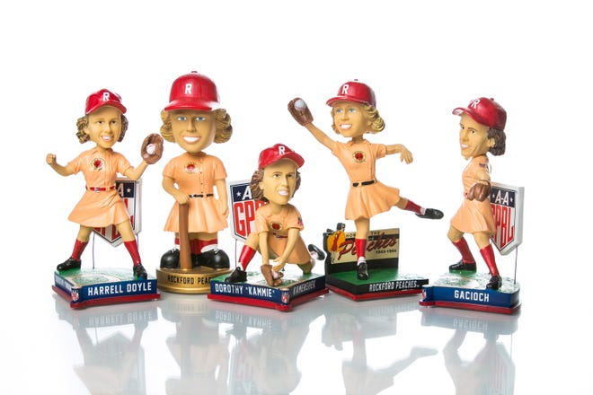 The National Bobblehead Hall of Fame and Museum based in Milwaukee, Wisconsin, which is run by a pair of Rockford natives, released six new Rockford Peaches' accessories to celebrate National Bobblehead Day on Thursday.