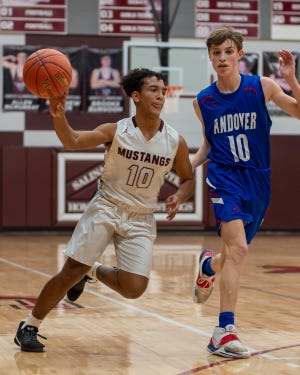 Salina Central's Kenyon McMillan (10) dribbles past Andover's Eli Shetlar (10) during Friday's contest at the Central gym.