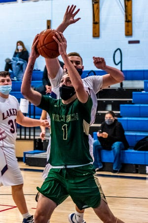 Shane Poitras Jr., seen here driving to the basket against Apponequet, nearly had a triple double in Tuesday's win over Wareham.
