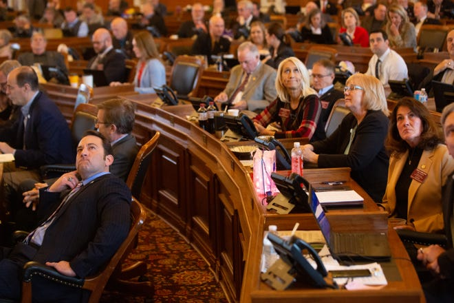 House members at the Statehouse watch as final votes are tallied on Feb. 7, 2020 during the final action vote to move on a proposal that would place an abortion amendment to the Kansas Constitution before voters. The proposal last year failed, but a similar resolution is being considered again in 2021.