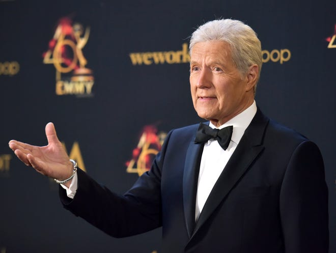 Alex Trebek poses in the press room at the 46th annual Daytime Emmy Awards on May 5, 2019, in Pasadena, Calif.