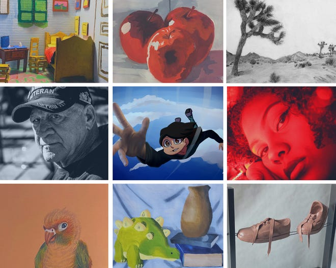 This collage of Victor Valley College students' work in various mediums shows a sample of the art on display as part of the Fall 2020 Student Art Show available online until Feb. 16, 2021.