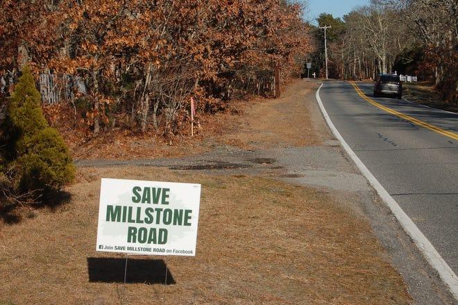 A roadside sign along Millstone Rd.