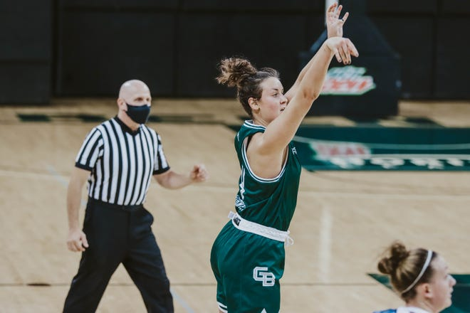Senior  guard Caitlyn Hibner had 20 points and nine rebounds in UWGB's win over Detroit at the Kress Center on Saturday.