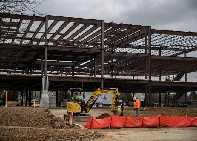 Work is underway on IMC Companies' corporate headquarters in the Schilling Farms Water Tower District on Friday, Jan. 8, 2021.