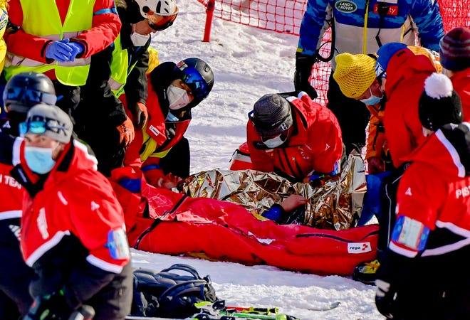 Injured Tommy Ford from the US during the first run of the men's giant slalom race at the FIS Alpine Skiing World Cup in Adelboden, Switzerland, Saturday, January 9, 2021.