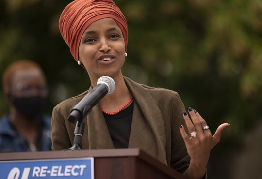 Rep. Ilhan Omar, D-MN, speaks during a news conference on St. Paul, Minnesota.