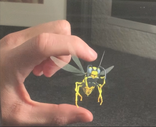 This demonstration of IKIN's holographic technology shows a buzzing wasp that can be interacted with.