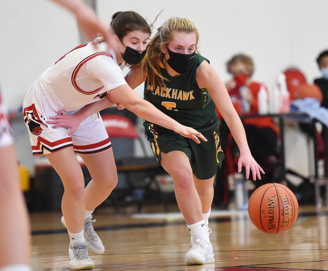 Blackhawk guard Kassie Potts brings the ball down the court with pressure from Sewickley's J.J. Jardini during Saturday's game at Sewickley Academy.