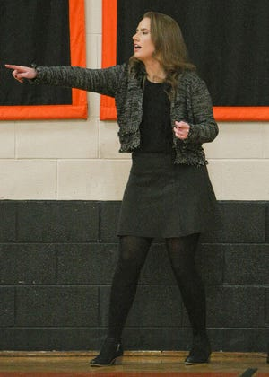 Gardner High girls' basketball head coach Michelle Griczika instructs her team from the sideline during a game against Quabbin last January. A 2010 graduate of Gardner High, Griczika is entering her first full season as coach of the Wildcats after ascending into the role midway through the 2019-20 season.