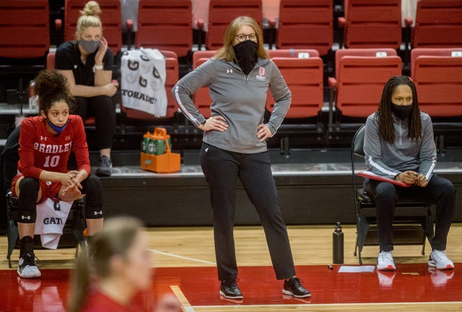 Bradley head coach Andrea Gorski surveys the action against Southern Illinois in the second half Saturday, Jan. 9, 2021 at Renaissance Coliseum in Peoria.