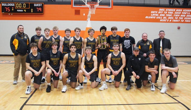 Versailles celebrates its third straight Stover Tournament championship on Saturday, January 10, in Stover.