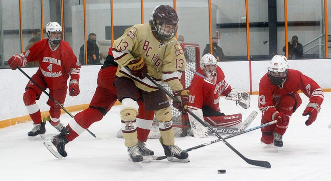 BC High freshman James Marshall of Weymouth works to get a pass off under pressure. BC High hosts Catholic Memorial hockey at the Thayer Sports Complex in Braintree on Sunday, Jan. 10, 2021.
