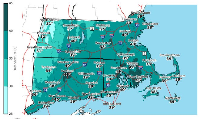 Afternoon high temperatures for Sunday.