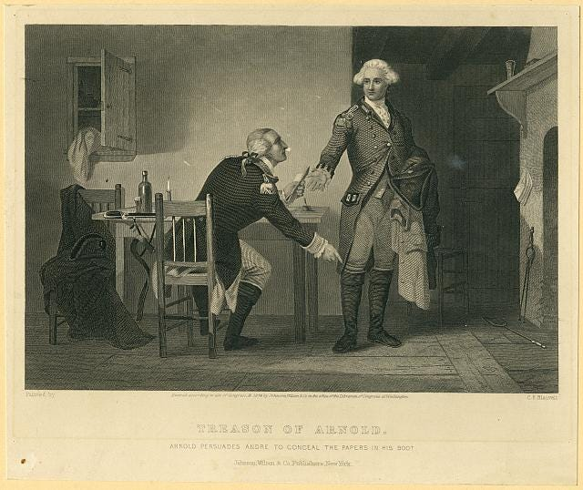 """""""Treason of Arnold"""" Artist C.F. Blauvelt, 1874, Courtesy of the Library of Congress"""