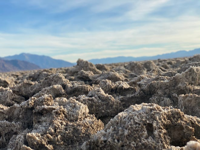 The jagged salt crystal formations of Devils Golf Course in Death Valley National Park.