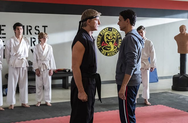"""William Zabka, left, and Ralph Macchio reprise their classic roles from """"The Karate Kid"""" in """"Cobra Kai."""""""