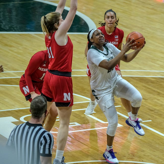 MSU guard Janai Crooms (23) drives to the basket late in the game against Nebraska Sunday, Jan. 10, 2021.