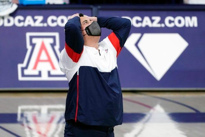 Arizona head coach Sean Miller during the first half of an NCAA college basketball game against UCLA, Saturday, Jan. 9, 2021, in Tucson, Ariz.