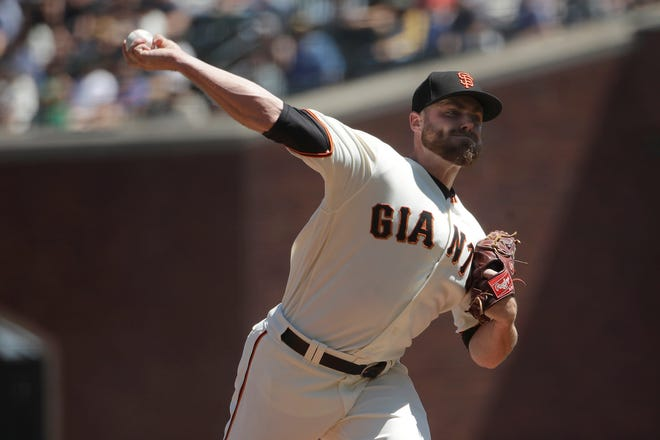 San Francisco Giants pitcher Sam Coonrod throws against the Oakland Athletics during a baseball game in San Francisco, Wednesday, Aug. 14, 2019. (AP Photo/Jeff Chiu)