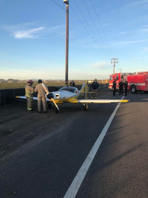 A pilot who took off from the Oxnard Airport safely executed an emergency landing nearby on Fifth Street on Sunday morning, Jan. 10 2021.